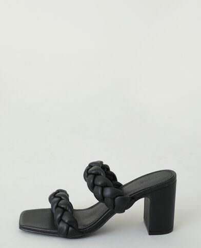 Instappers met gevlochten hakken zwart - Pimkie