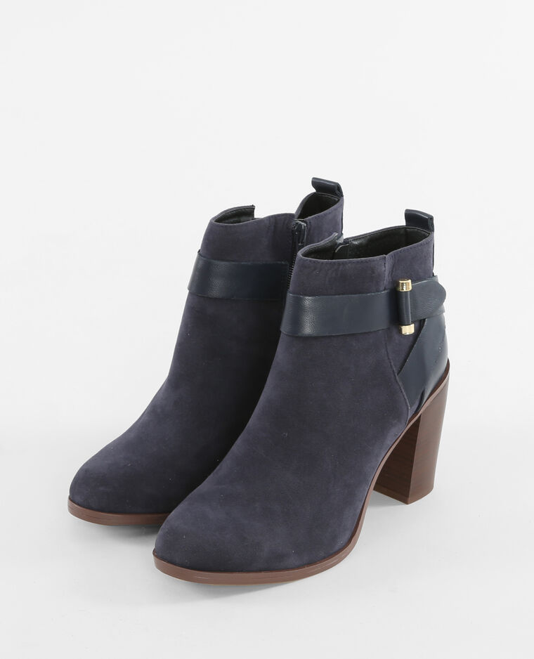 b7693629ad5e4 Boots talon carré bleu marine - 986110635A06   Pimkie