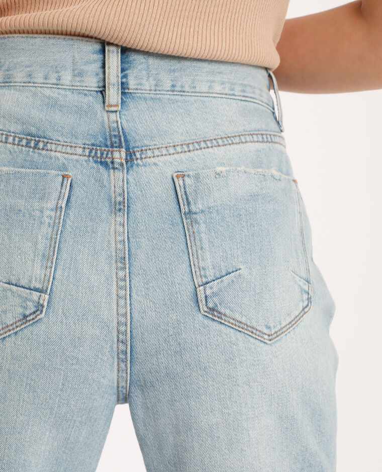 Jean straight high waist bleu délavé