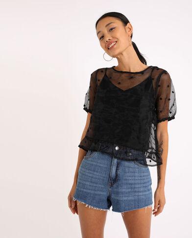 Shirt van organza zwart