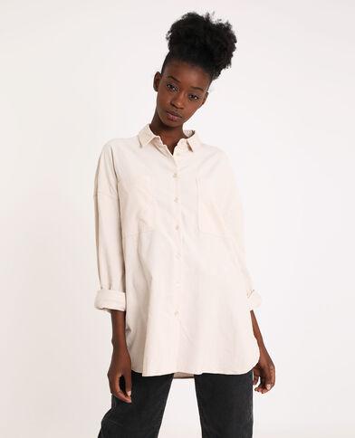 Oversized fluwelen hemd Beige