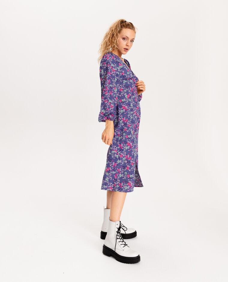 Robe longue à fleurs violet