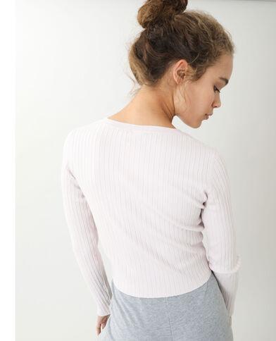 Korte trui met platte ribbels roze