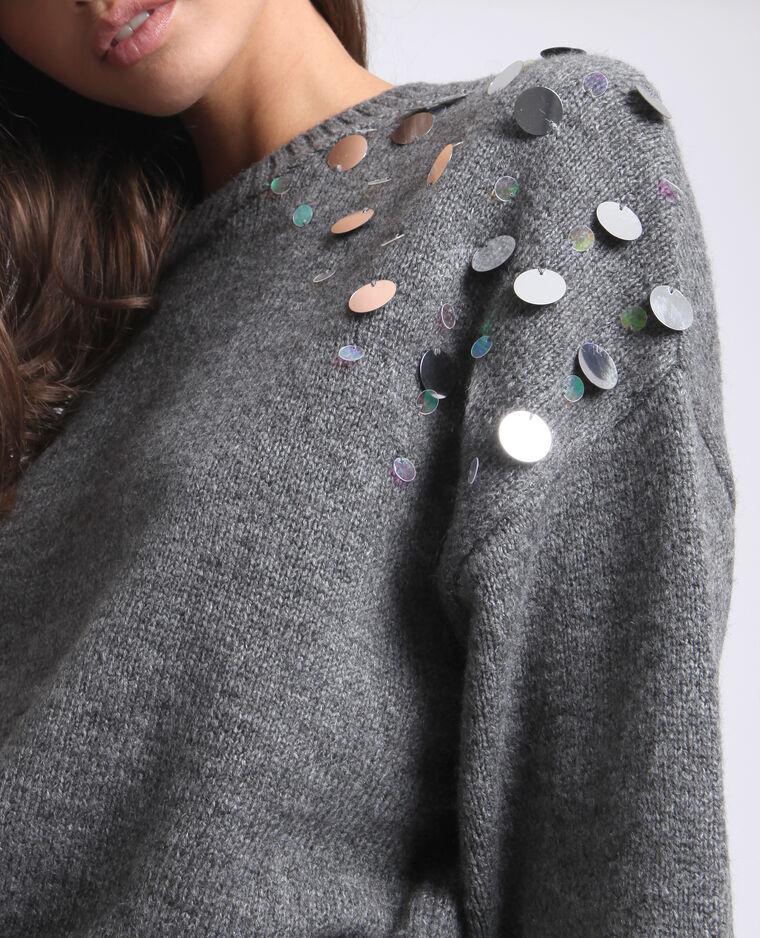 Pull à bijoux gris