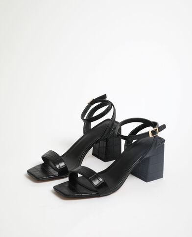Sandalen met krokodillenleereffect zwart