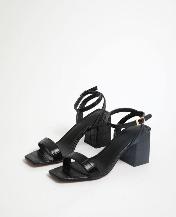 Sandales effet croco noir