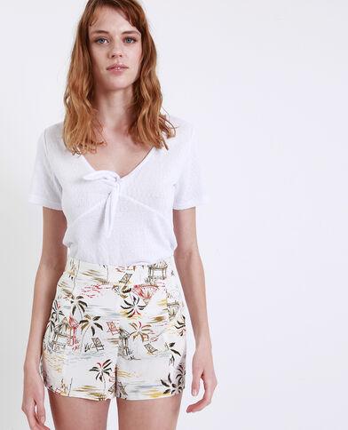 T-shirt met strik wit