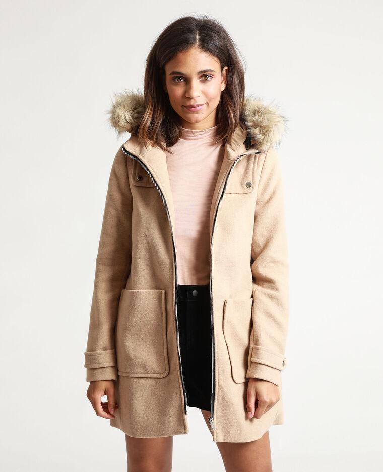 Manteau à capuche caramel