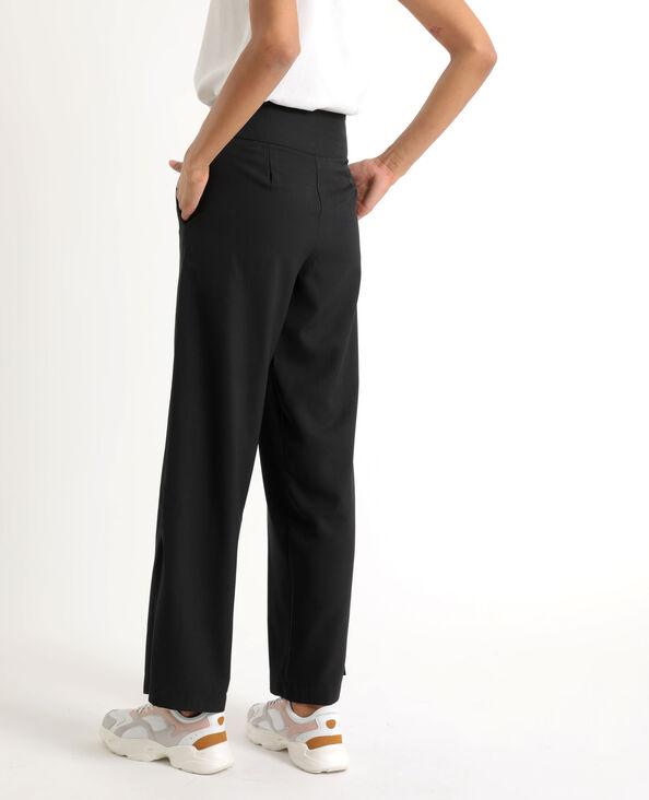 Soepele broek met brede pijpen zwart