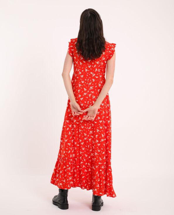Lange jurk met bloemenprint rood