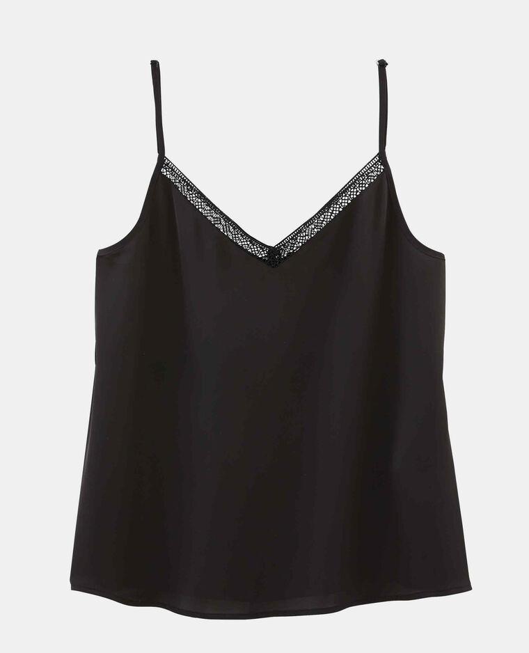 Topje met schouderbandjes zwart