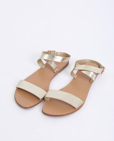 Platte sandalen geel