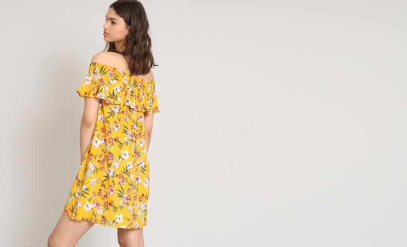 Jurk met bardothals en bloemenprint geel