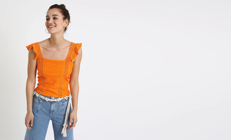 Crop top brodé orange fluo