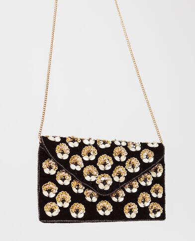 Enveloptasje met bloemen zwart