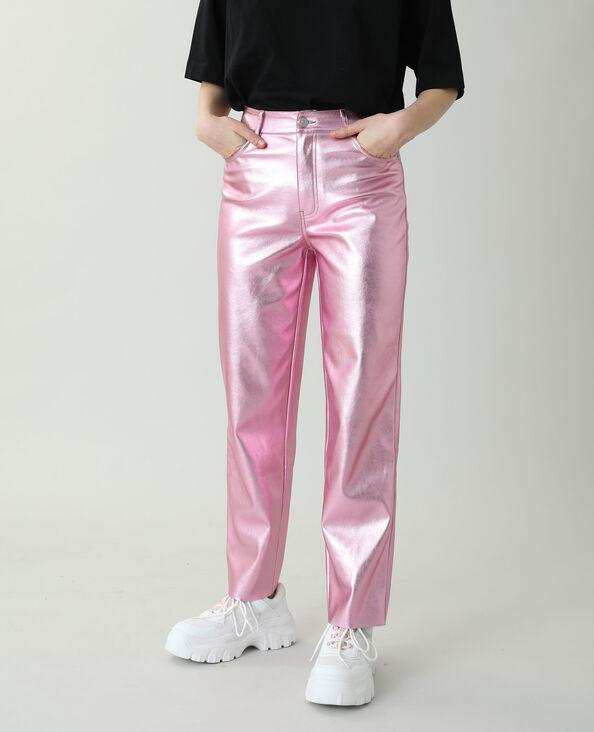 Rechte broek van kunstleer roze - Pimkie