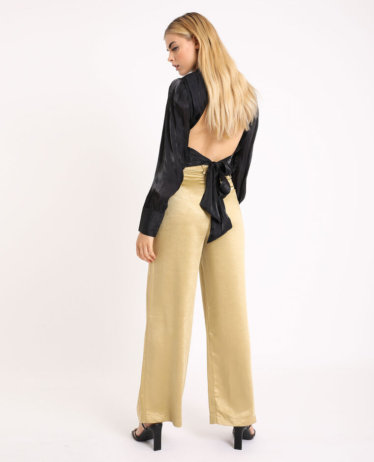 Pantalon large satiné doré
