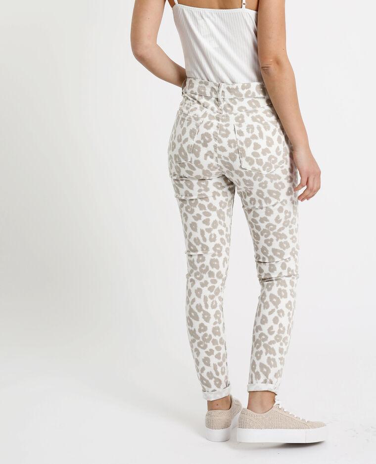 Skinny broek met luipaardprint ecru