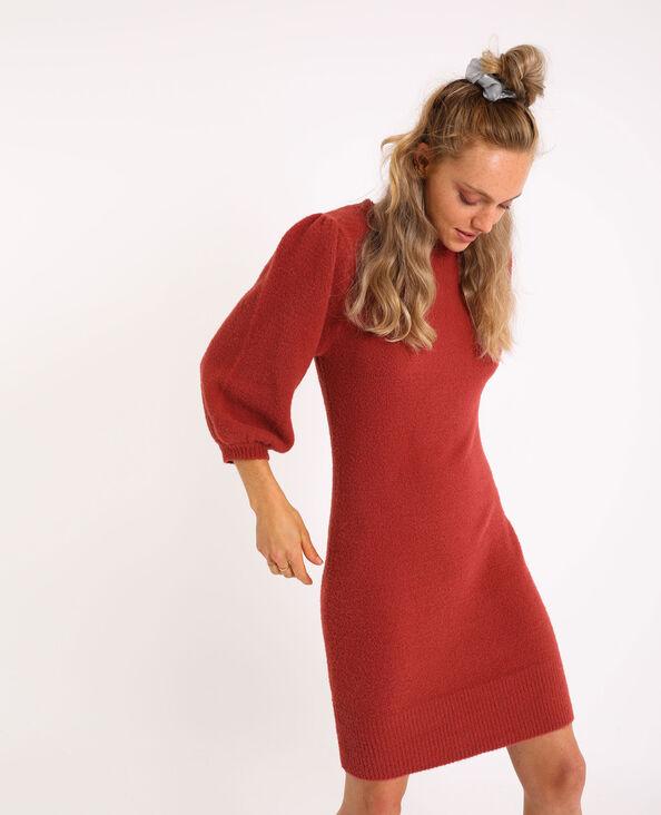 Trui-jurk met pofmouwen koraalrood