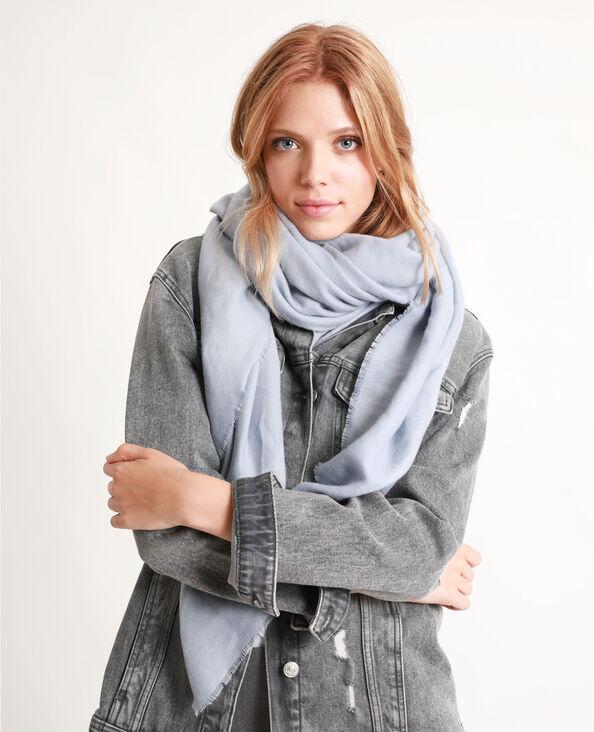 Sjaal met franjes aan de uiteinden blauw