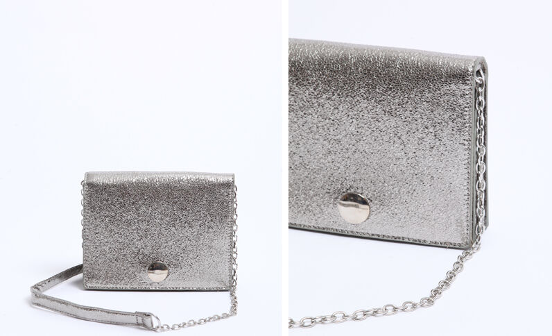 Petit sac bandoulière gris argenté