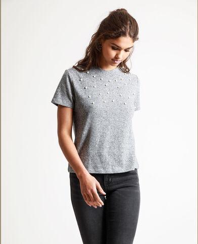 T-shirt met parels gemêleerd grijs