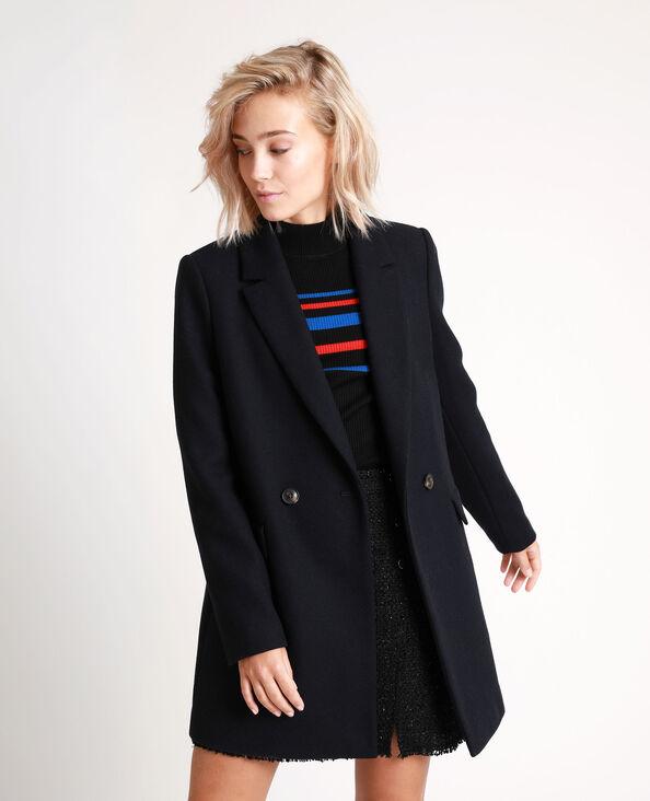 Manteau drap de laine bleu marine
