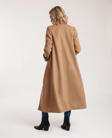 Lange jas met wolaandeel karamel