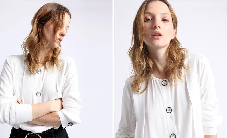 Hemd zonder kraag gebroken wit