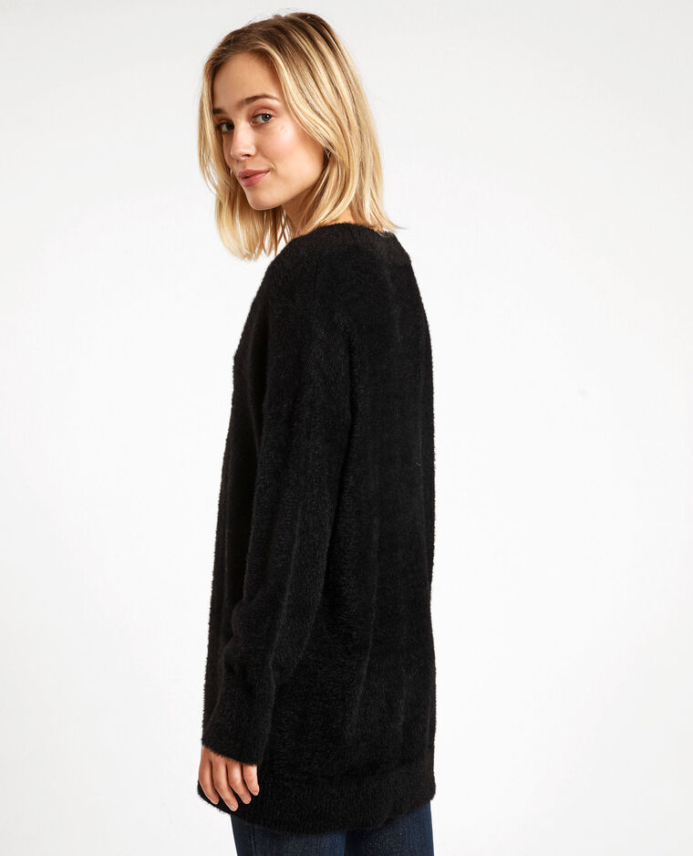 Pull oversized fluffy noir