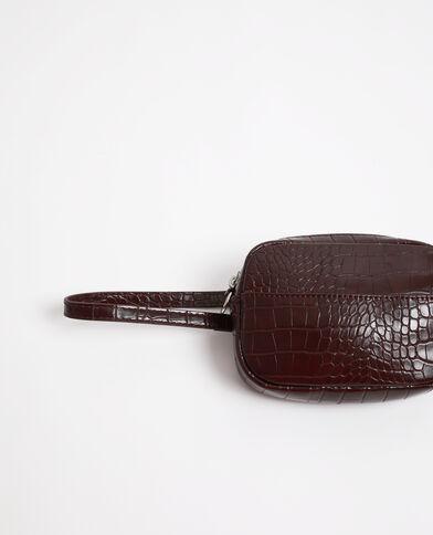 Riemtas met krokodillenleereffect granaatrood