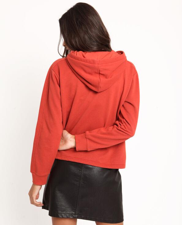 Sweater met kap roestkleur