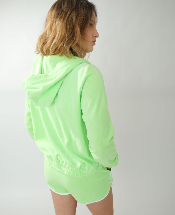 Sweat à capuche en velours vert
