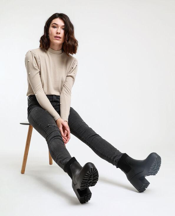 Skinny jeans met hoge taille antracietgrijs