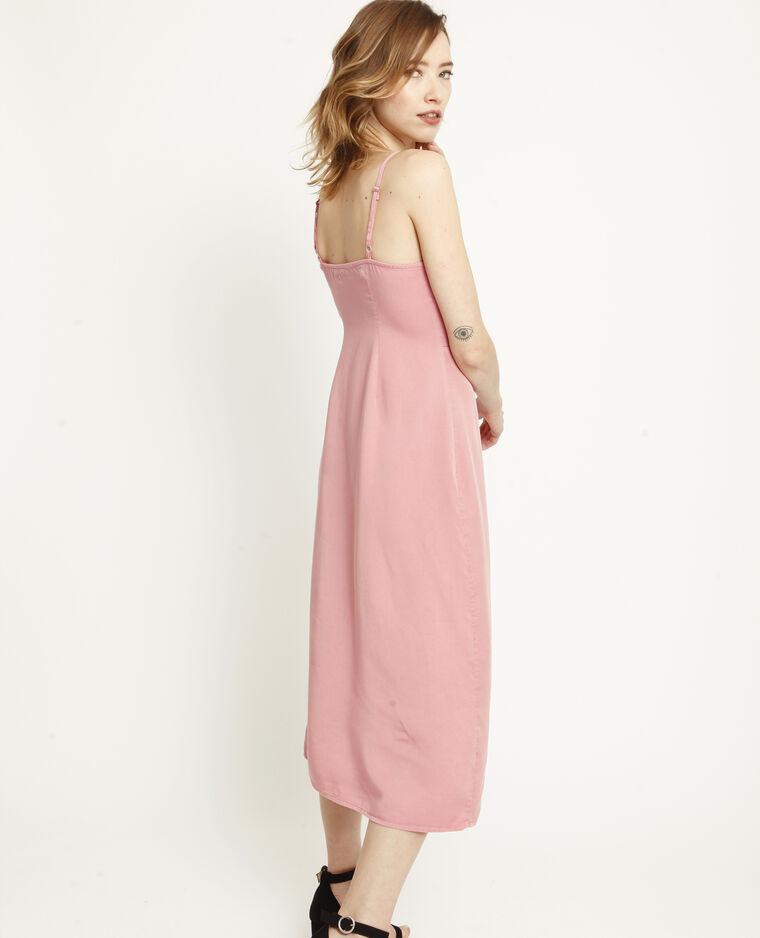 Lange jurk met knopen roze