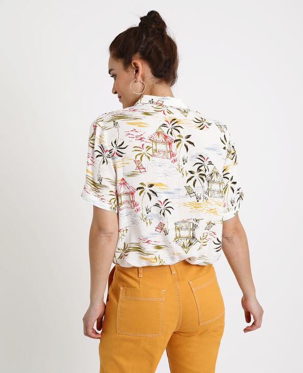 Chemise à imprimé hawaiien blanc