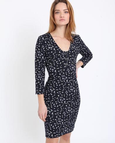 Halflange jurk met luipaardprint blauw