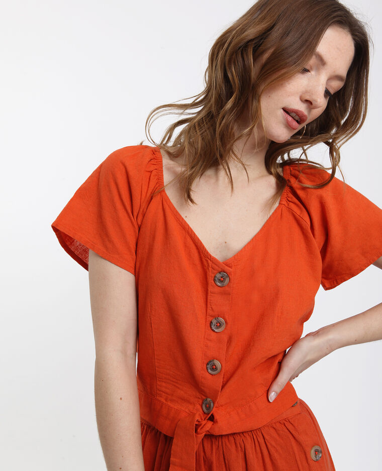 Korte blouse oranje