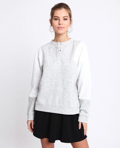 Sweater met Tunesische hals gemêleerd grijs