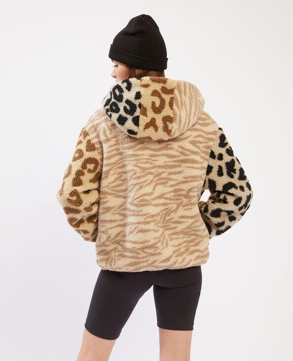 Jasje met kap met luipaard- en zebraprint beige - Pimkie