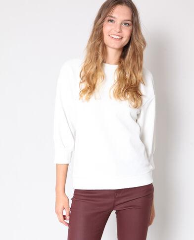 Sweater met pofmouwen gebroken wit