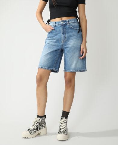 Jeansbermuda met hoge taille denimblauw - Pimkie