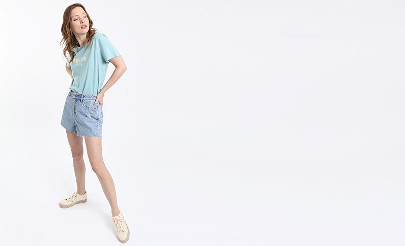 Short en jean high waist bleu délavé