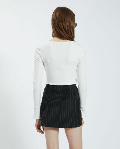 T-shirt effet velours blanc cassé - Pimkie