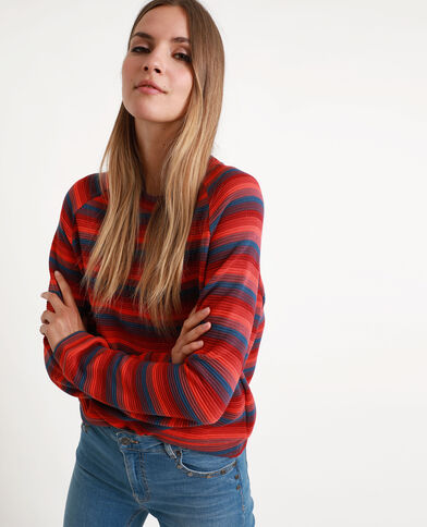 Veelkleurige gestreepte sweater rood