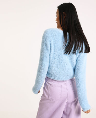 Gilet fluffy à col V bleu