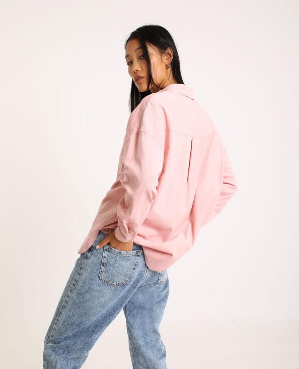 Oversized hemd van dun ribfluweel roze