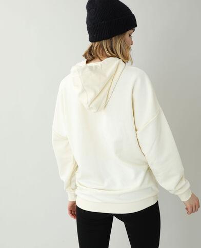 Oversized sweater met kap gebroken wit - Pimkie