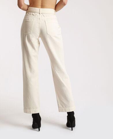 Pantalon droit à poches beige