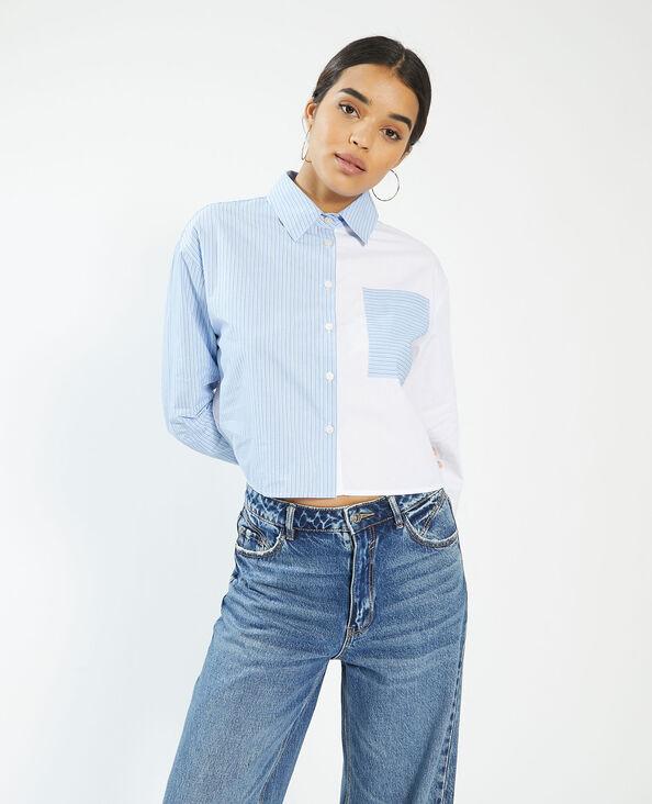 Gestreept tweekleurig hemd wit - Pimkie
